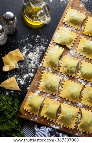 ravioli with spinach and ricotta - stock photo