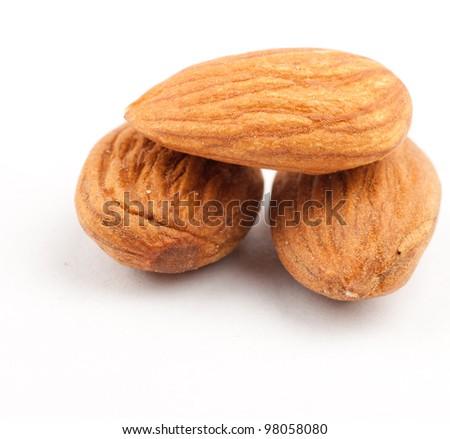 Raw Almonds ,Isolated on white - stock photo