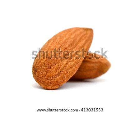 raw almonds on white background  - stock photo
