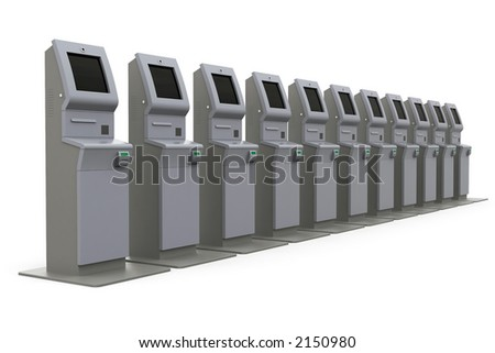 Raw atm machine - row - stock photo