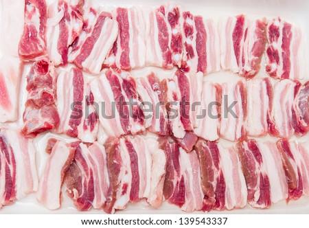 raw bacon - stock photo