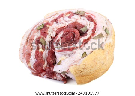 Raw bacon with layers of meat isolated on white background - stock photo