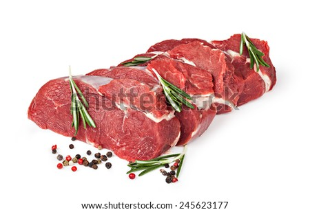 Raw beef meat isolated on white - stock photo
