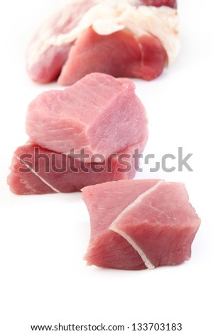 raw beef meat on white background - stock photo