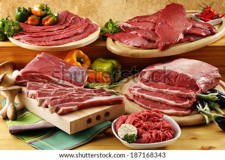 raw beef meat ,steaks,fillets and mince - stock photo