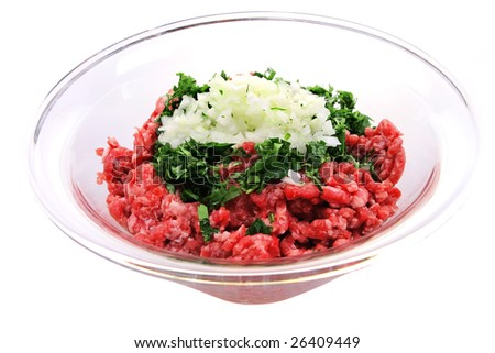 raw beef minced meat isolated over white - stock photo