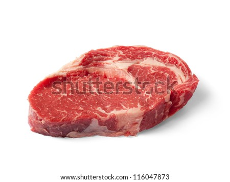 Raw Beef Scotch Fillet Steak isolated on white Clipping Path included - stock photo