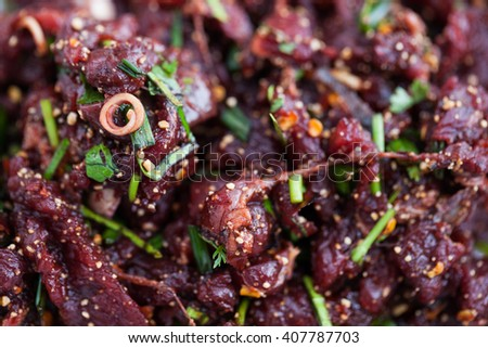 Raw beef spicy minced meat salad, Northeastern Thailand local food. - stock photo