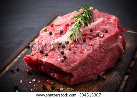 Raw beef steaks. - stock photo