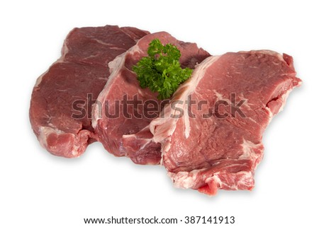 Raw Beef Steaks isolated on white background - stock photo