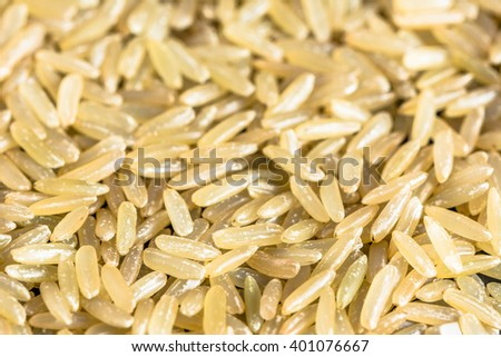Raw brown rice background, selective focus - stock photo