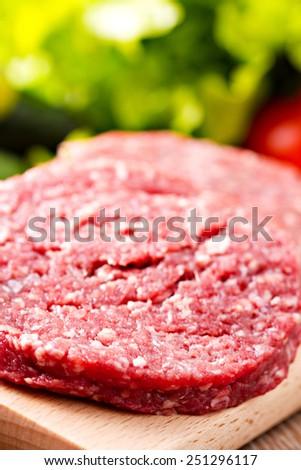 Raw burger meat - stock photo