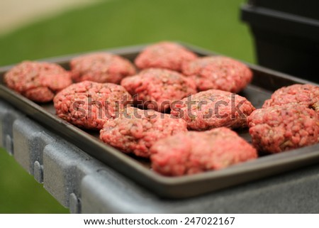 Raw Burger Patties about to be Grilled - stock photo