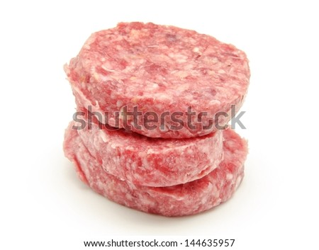 Raw burgers on a white background - stock photo