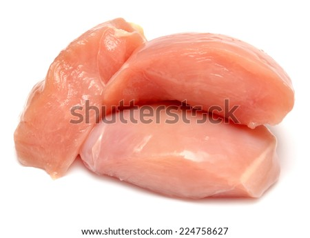 Raw chicken fillets isolated on white background - stock photo
