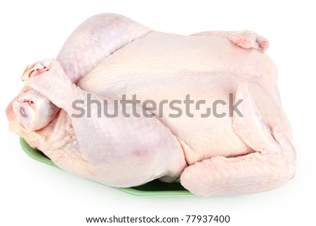 Raw chicken, whole and uncooked - stock photo