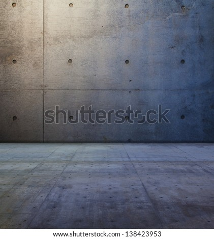 Raw concrete space. concrete wall and floor. - stock photo