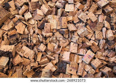 RAW CORK PIECES - stock photo