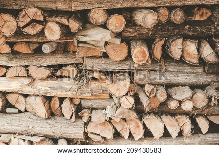 Raw de-barked pine wood logs in a lumber staging and storage in old yard. - stock photo
