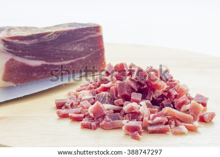 Raw diced bacon - stock photo