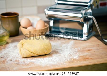 raw dough on wooden desk - stock photo