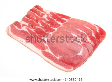 Raw dry-cured back bacon - stock photo