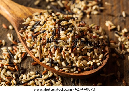 Raw Dry Organic Wild Rice in a Bowl - stock photo