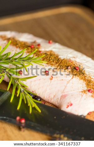 raw duck breast preparing for cooking on wooden table - stock photo