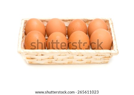 Raw Egg, on white background.  - stock photo