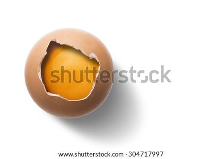 Raw Egg On White Background - stock photo