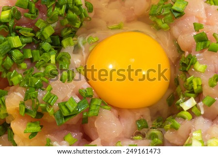 raw egg with minced chicken and green onions - stock photo