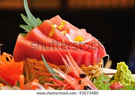 raw fish luxury japanese food - stock photo