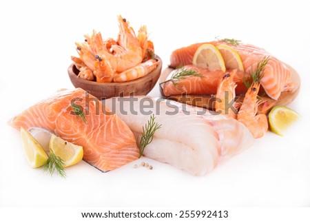 raw fish,shrimp,salmon isolated - stock photo