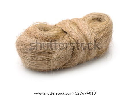 Raw flax fiber isolated on white - stock photo