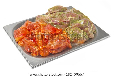 raw fresh meat in the marinade - stock photo