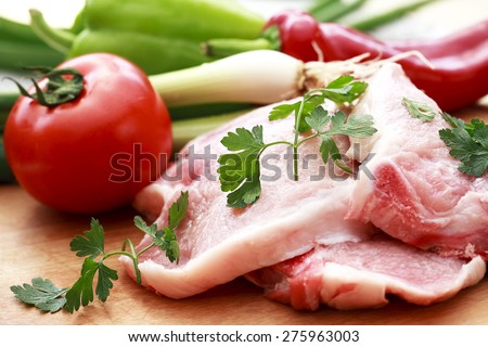 Raw fresh pork meat - stock photo