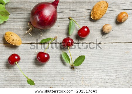 raw fruits and vegetables - stock photo