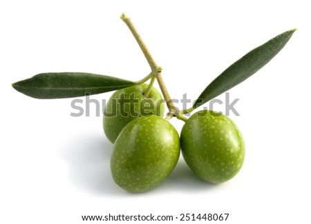 raw green olives with leaves, isolated - stock photo