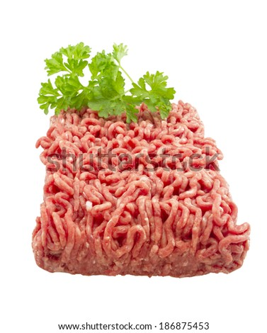 Raw ground beef. isolated on white - stock photo