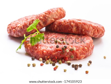 raw hamburger meat isolated on white - stock photo