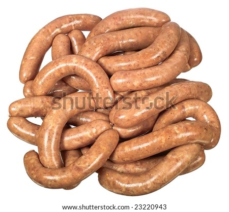 Raw home sausage link isolated on white background - stock photo