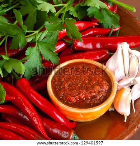Raw hot georgian sauce adjika and ingredients - stock photo