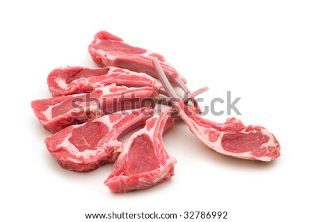 raw lamb meat on white background - stock photo