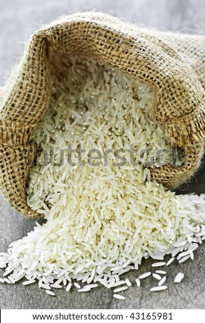 Raw long grain white rice grains in burlap bag - stock photo