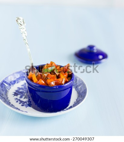 Raw Mango Pickle - Also known as Mangakari - stock photo