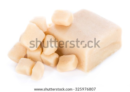 Raw Marzipan (close-up shot) isolated on white background - stock photo