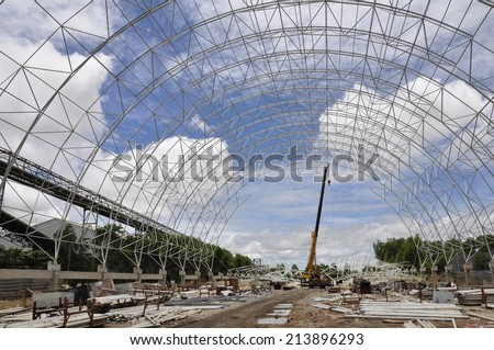 Raw material storage, Cement plant - stock photo