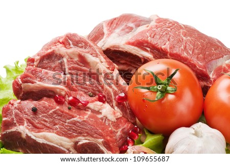 raw meat and fresh vegetables - stock photo
