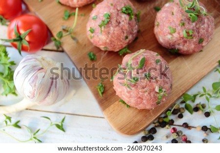 Raw meat balls with fresh herbs - stock photo
