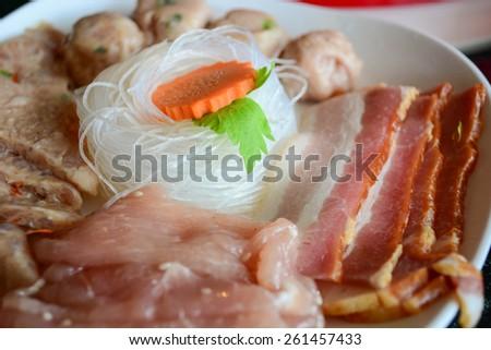 raw meat for shabu set   - stock photo